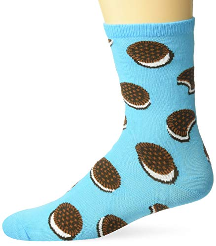 Hot Sox Boys' Big Food Novelty Casual Crew Socks, Sandwich Cookie (Sky Blue), Large/X-Large Youth