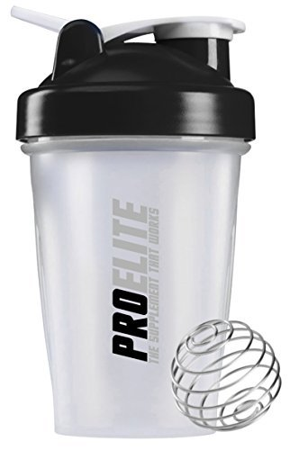 PROELITE Protein Shaker Water Bottle 400ml with Ball Whisk Unisex Mixball Water Diet Shake Smart Mixer Cup 4 Whey Protein Creatine BCAA Weight Gainer (Black)