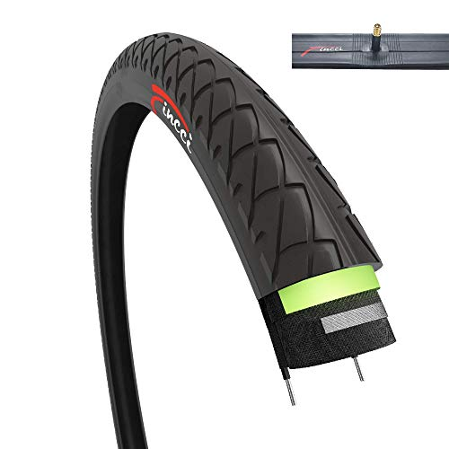 Fincci Set 26 x 1.95 Inch 53-559 Slick Tyre with Schrader Inner Tube and 2.5mm Antipuncture Protection for Road Mountain Hybrid Bike Bicycle
