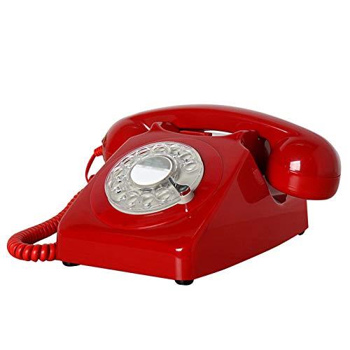 GERUOLA Retro Vintage Telefon,Antike Festnetztelefon,Europäisches Nostalgie Cable Telefon,Wählscheibe Klassisches Schreibtisch Telefon,Wahlwiederholung,Einstellbare Doppelklingeltöne,Rot