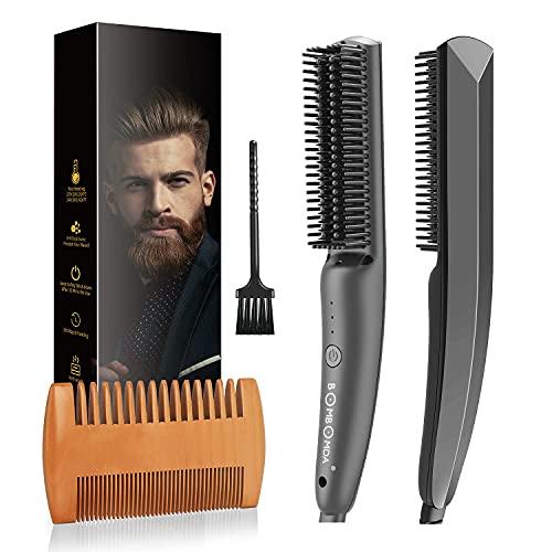 Cepillo Alisador de Barba, BOMBOMDA 2 en 1 Alisador de Barba para Hombres con 3 Niveles de Temperatura, Cepillo Barba Electrico, Plancha de Pelo Flequillo Eléctrico para Alisado de Cabello y Barba