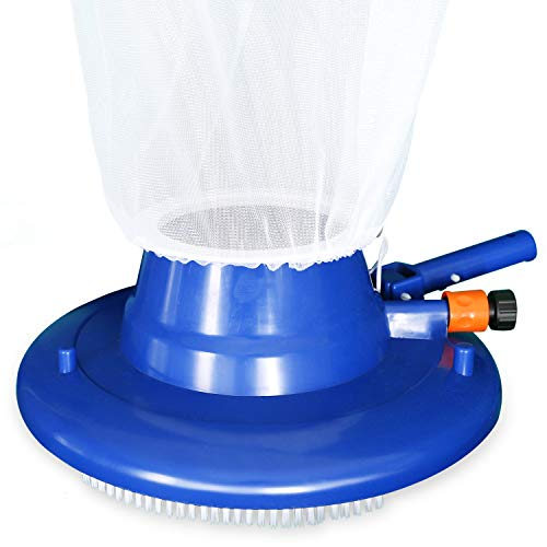 """Pool Leaf Vacuum, 15"""" Large Pool Leaf Sucker with Brush, Include Reusable 16"""" X 23"""" Leaf Bag, Durable Leaf Bagger for Inground and Above Ground Swimming Pools (Blue)"""