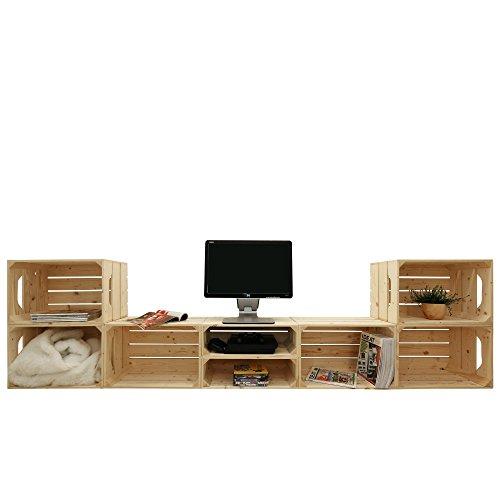 Meuble TV 6S2H - Kit prêt à assembler - caisses en bois (x8) - Fabriquée main en France
