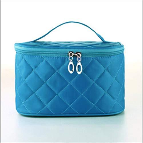 Sperrins Sac cosmétique Portable carré rhombique Simple, Cas de Voyage Portable Portable, boîte de Rangement de Bijoux de beauté des Ongles beauté Bleu