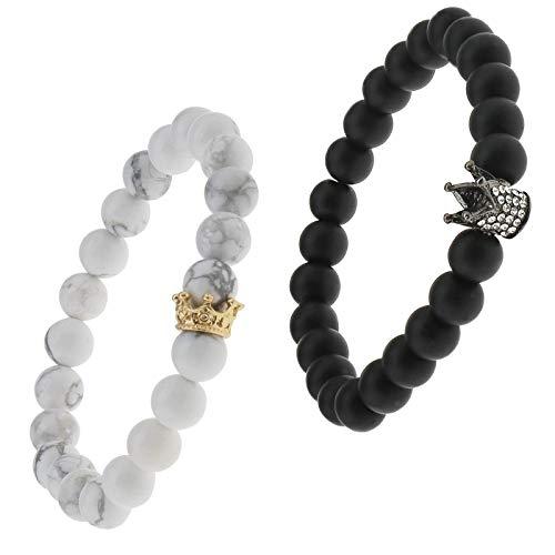Enet, 2 braccialetti con corona per coppia King&Queen per lui e lei amicizia, 8 mm, perline Ying Yang per uomini e donne