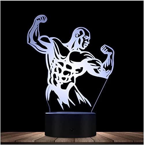 Bodybuilder Men Sexy Body 3D Lámpara de noche Led óptica Bodybuilding Gym Fintess Iluminación decorativa Lámpara de mesa Lámpara Led brillante