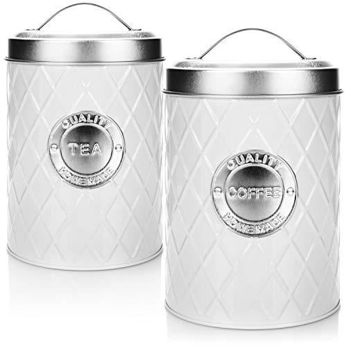 com-four® 2X Kaffeedose Coffee + Tea mit Deckel - Kaffeebehälter - Vorratsdose - Aufbewahrungsbehälter für Kaffee und Tee (Coffee+Tea - weiß)