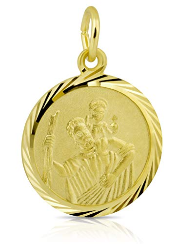 Anhänger Gelbgold 333 Gold 8k Schutzpatron Christopherus Kettenanhänger Ketten Geschenk zum neuen Auto Anhaenger mit Gravur Goldschmuck