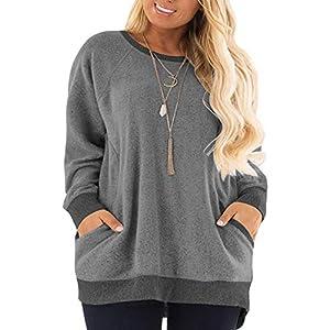 Women's Plus Size Sweatshirts  Long Sleeve Pocket Shirts Tops
