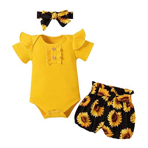 Infant Baby Girl Clothes Summer Outfits Short Sleeves Romper Floral Shorts Headband Set 3PCS (3-6 Months)