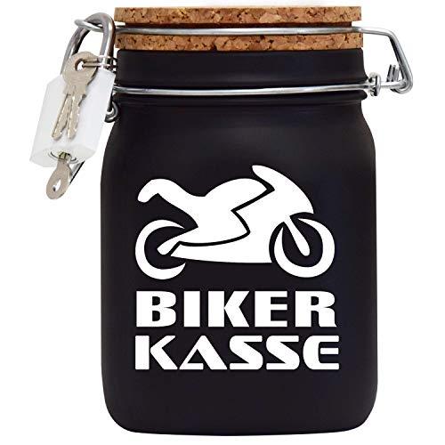Spardose Motorrad Biker Kasse das Geld Geschenk in Schwarz Rennmaschine L