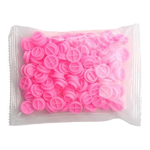 FRCOLOR 100 Piezas de Extensión de Pestañas Soporte de Pegamento Taza de Pegamento Plástico Almohadilla de Paleta para Suministro de Extensión de Pestañas (Rosa)
