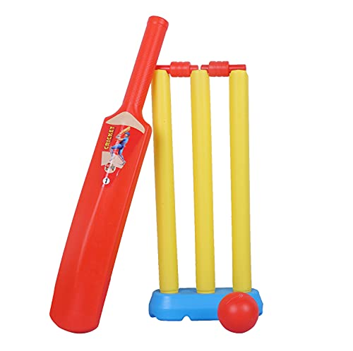 Light Weight Plastic Cricket KIT for Kids Cricket kit for 2-4 Year Boys Bat & Ball Set for Best Birthday Gift Items, (1 bat, 1 Ball,3 wickets, 2 Stamp,1 Stand) NO-1�