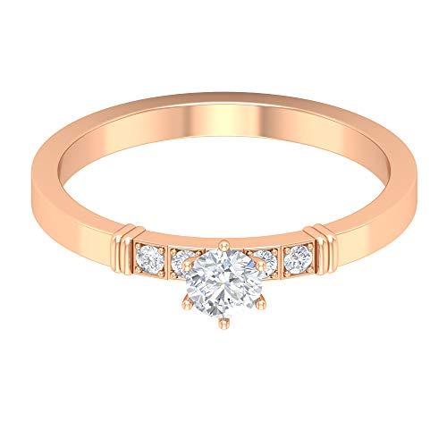 Anillo de compromiso vintage, anillo de boda solitario, HI-SI 0,33 ct 4 mm redondo diamante anillo de diamante, anillo de declaración, anillo de aniversario único, 14K Oro rosa, Size:EU 58