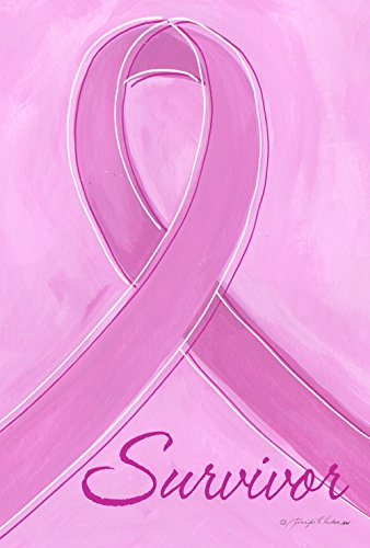 Toland Home Garden Survivor 12.5 x 18 Inch Decorative Pink Breast Cancer Support Ribbon Awareness Garden Flag