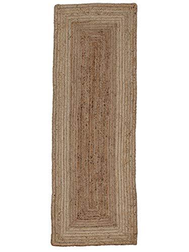 CarpetFine Tappeto di Iuta Nele passatoia Beige 60x180 cm | Tappeto Moderno per Soggiorno e Camera da Letto