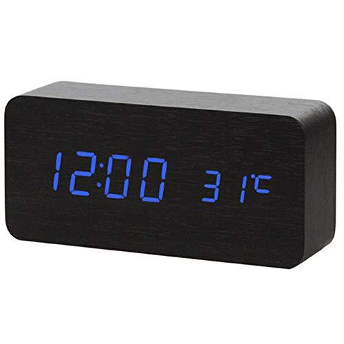 FPRW digitale led-wekker van hout, nachtlampje, led-display, temperatuurweergave, bureaulamp, elektronische smartwatch, zwart/blauw