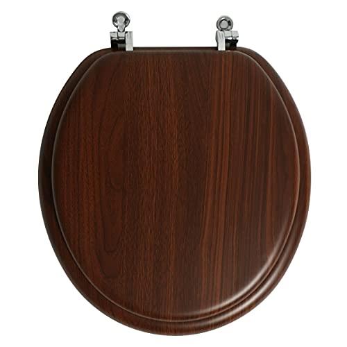 Toilet Seat Round Molded Wood, Walnut, Chrome Hinge Seat, Firm