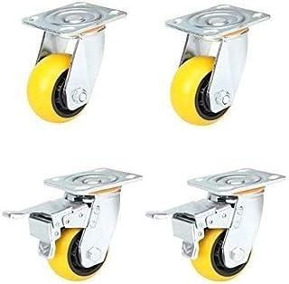 TCWDX Universele wiel 4/5/6 inch dubbele lager slijtvaste compressie, zware industriële wielen (maat: 6 inch rem 4)