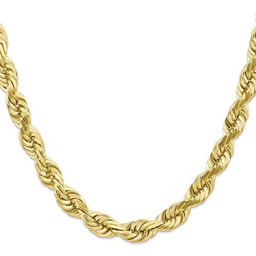 Diamond2Deal - Collana da uomo, in oro giallo 10k, da 10 mm, con chiusura a moschettone, lunghezza: 56 cm