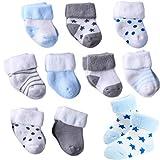 XM-Amigo 10 pares de calcetines cálidos para bebé – Calcetines suaves para recién nacidos unisex – Calcetines elásticos para recién nacidos (0-36 meses), calcetines cálidos de algodón de rizo Azul