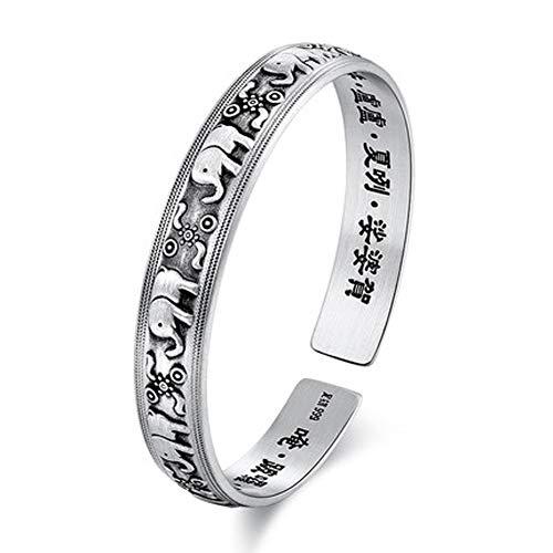 Pulsera de plata de ley 999 de 10 mm, plata de ley grabada con elefante, pulsera para hombres y mujeres, pulsera de bendiciones para cumpleaños
