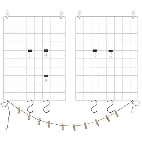 SONGMICS Grid Photo Wall, 16.5 x 12.2 Inches, Set of 2, Wire Wall Grid Panel, Photo Wall Display, DIY, Hanging Picture Wall with S Hook, Clip, Hemp Cord, White ULPP01W