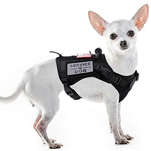 Tactical Service Dog Harness Vest,K9 Adjustable Work Water-Resistant Military Comfortable Molle Handle with Extenrder Strap (M, Black)