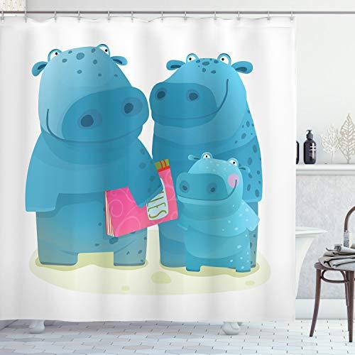 ABAKUHAUS Nilpferd Duschvorhang, Grafische glückliche Familie, mit 12 Ringe Set Wasserdicht Stielvoll Modern Farbfest & Schimmel Resistent, 175x240 cm, Mehrfarbig
