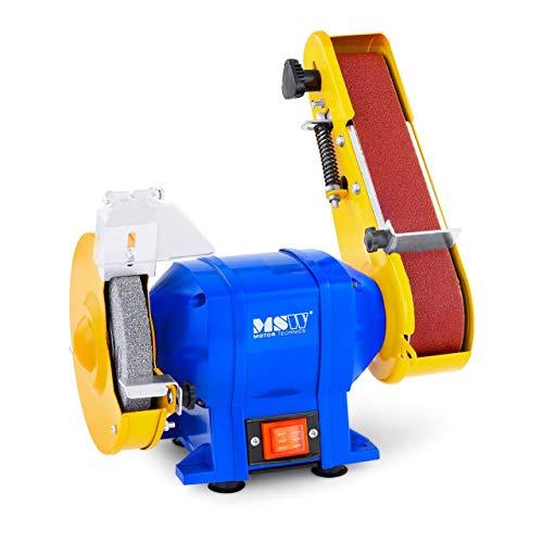 MSW Amoladora lijadora de banda GRIN250D (250 W, 2950 rpm, Muelas de distinto grano, muela y cinta abrasiva, Cubierta robusta de hierro fundido)