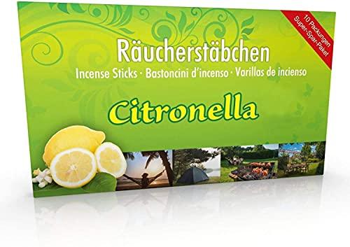 10 confezioni di incenso Citronella anti zanzare, tempo di combustione circa 60 ore (totale). XL magazzino come alternativa alla citronella di candela o di tè luci per esterni/giardinaggio