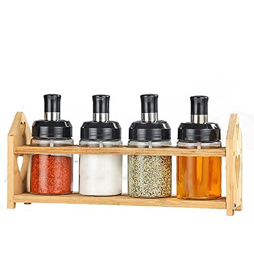 FEIHAIYANY TLG - Tarros de almacenamiento de alimentos, caja de especias de cristal, cuchara y tapa integrada, frasco de especias, frasco de condimento, suministros de cocina, botella de aceite