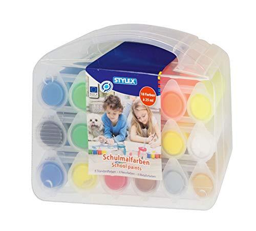 Stylex 28952 - Schulmalfarben, 18 Malfarben für Kinder, in 25 ml Näpfen im praktischen Mehrzweckkoffer, 6 Standardfarben, 6 Neonfarben und 6 Metallicfarben