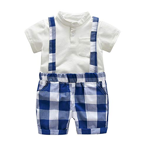 AIKSSOO Baby Boy Gentleman Suit Formales Hemd Trägerhose Hochzeitsanzug Kurze Ärmel Hosenträger Shorts Size 90 (Gray)