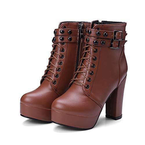 DANDANJIE Damenschuhe Comfort Basic Pump Stiefel Wanderschuhe Blockabsatz Stiefeletten für den Herbst Winter (Farbe : Braun, Größe : 34 EU)