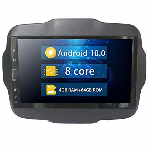 ROADYAKO 9Inch Indash Android 10.0 Unidad Principal de automóvil Radio estéreo para Jeep Renegade 2016 2017 2018 2019 Navegación GPS automática Soporte Multimedia SWC con 4G WiFi Blutooth RDS