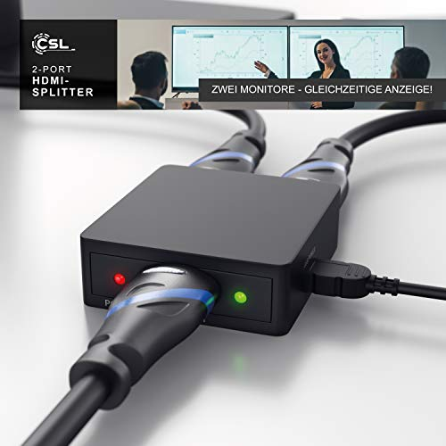 CSL - 4k HDMI Splitter Verteiler - Ultra HD Switch mit 2160p Full HD 1080p - CEC - HDCP - 3D Ready - Deep Color 30bit, 36bit, 48bit - vergoldete Kontakte - schwarz