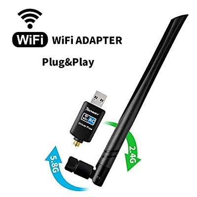 WiFi Adapter 600mbps?Techkey Wireless USB Adapter Dual Band 2.42GHz/5.8GHz LAN Card 802.11ac Network Card for Desktop Laptop PC Support Windows 10/8.1/8 / 7 / XP/Vista/Mac OS 10.6-10.14 Mojave