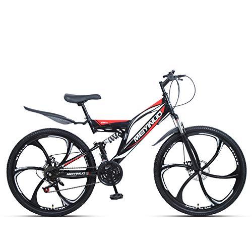 KUKU Vélo De Montagne 26 Pouces, VTT Tout Suspendu, VTT 21 Vitesses en Acier À Haute Teneur en Carbone, Adapté Aux Amateurs De Sport Et De Cyclisme,Noir