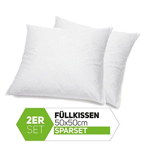 Casamide Füllkissen 2er Sparset 50x50 cm Kissen Inletts Kissenfüllung Polyester für Dekokissen Sofakissen Kopfkissen weiß Öko-Tex Standard 100-50x50 cm (2er Pack)