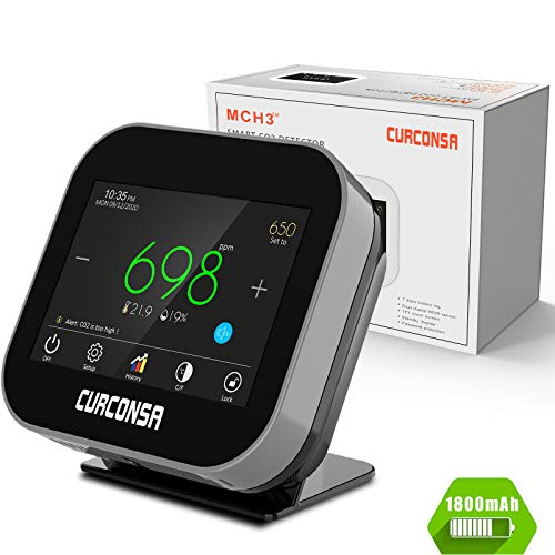 CO2 Messgerät,CURCONSA CO2-messgerät mit Umgebungstemperatur, Luftfeuchtigkeit und Uhr,Wiederaufladbare Lithiumbatterie mit 1800 mAh,3,5-Zoll-TFT-Farbbildschirm mit kapazitivem Touch.(Schwarz)