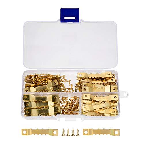 Firtink 100 Stück Bildaufhänger Zackenaufhänger mit Schrauben Sägezahn Bilderrahmen Aufhänger Doppel-Loch mit Schrauben für Bilderrahmen