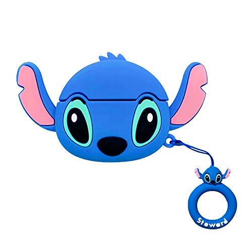 Airpods Pro Silicone Case Funny Cover Compatible for Apple Airpods Pro 3D Cartoon Pattern]Blue Stitch Airpod Case for Girls Kids Teens Air pods