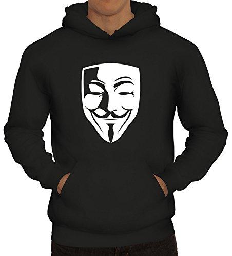 ShirtStreet, Anonymous Maske, Guy Fawkes Vendetta Herren Kapuzen Sweatshirt - Pullover S-3XL, Größe: L,Schwarz