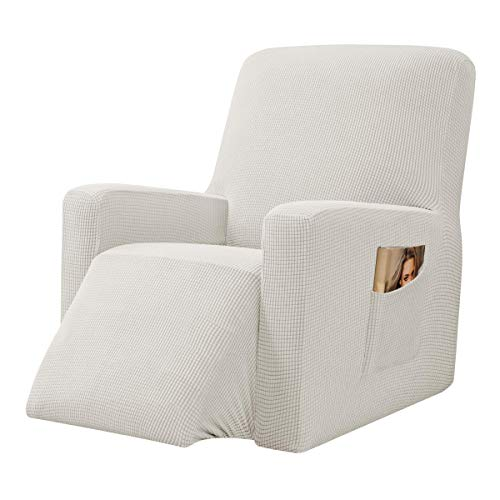 CHUN YI Stretch Recliner Chair Slipcovers 1-Piece Spandex Jacquard Sofa Covers Recliner Cover, Furniture Protector with Elastic Bottom Side Pocket Fit for Living Room (Recliner, Ivory)