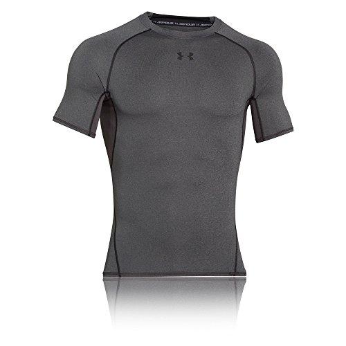 Under Armour UA HeatGear Kurzarm, Kompressionsunterhemd für Sport, Herren-Sportoberteil mit HeatGear-Stoff Herren, Grau (Carbon Heather / Schwarz (090)), XL