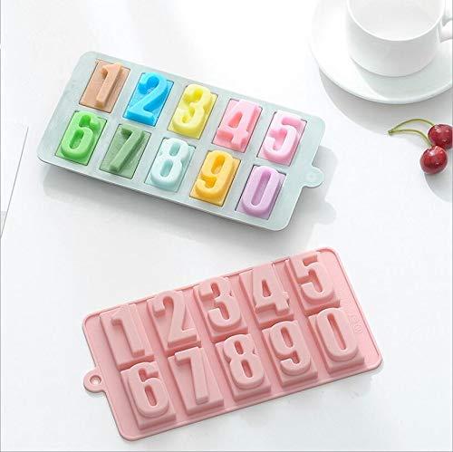 xuyang Molde de silicona digital de 0 a 9 de silicona para chocolate, hecho a mano, para fondant y cubitos de hielo, para decoración de tartas de cumpleaños (color 02 rosas)