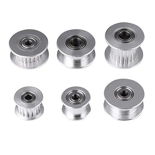 5Pcs 2GT Accesorios de Aluminio de la Impresora de Polea 3D, 3mm / 5mm de la Rueda 16/20 o sin Dientes para el Ancho de la Correa 6 mm / 10 mm(W6mm, 20T, orificio 5,Sin dientes)