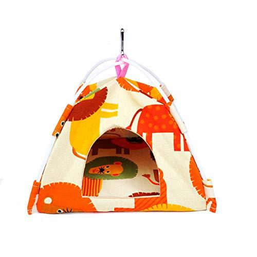 Hitasi インコおもちゃ 鳥用 ベッド 鳥 かご おやすみ 吊り下げ式 寝床 布製 両面可用 おしゃれ バードテント セキセイインコ 小鳥用 鳥の理想的な遊び場 四季通用 (S: (16*16*16cm),ライオン柄)