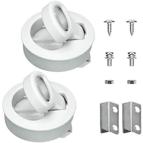 PAGOW 2'' Flush Pull Slam Latch Hatch, White Round Pull Latch Plastic Round for RV Boat Marine Deck Hatch 1/2'' Door Cabinet Hardware (Pack of 2)